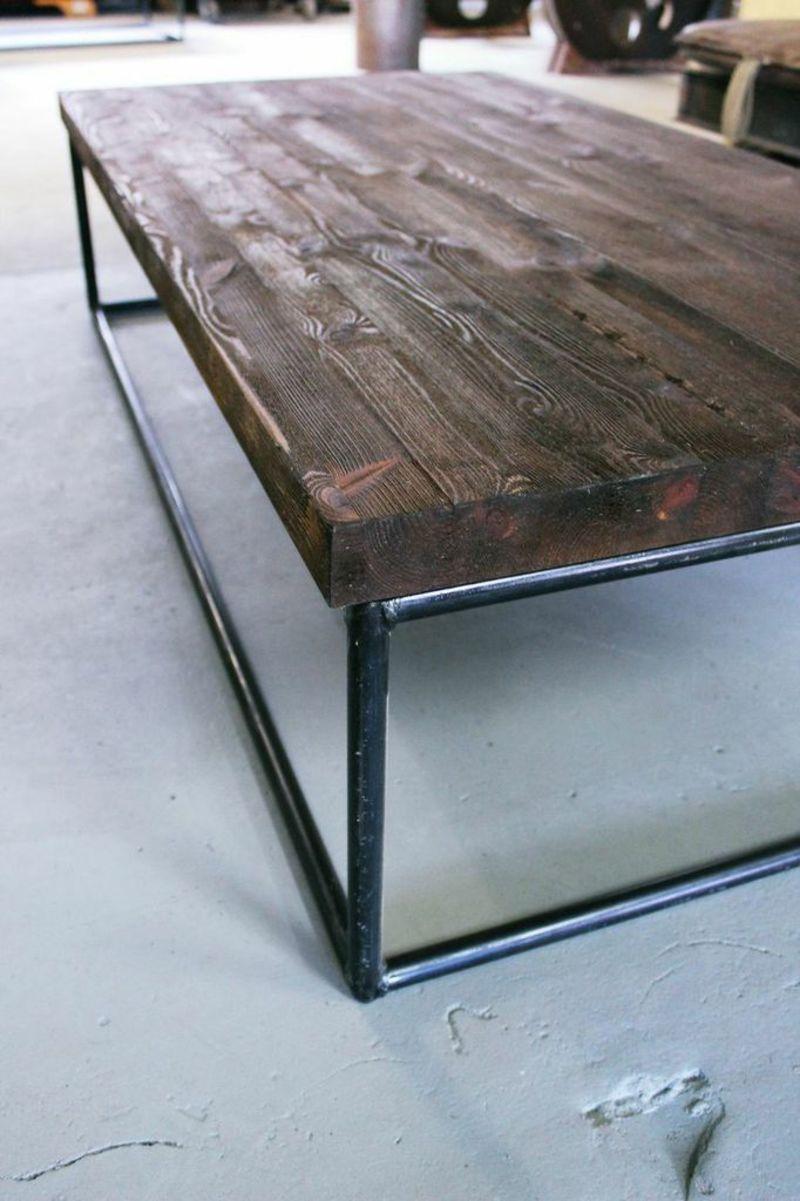 Blickfang Couchtisch Holzplatte Galerie Von Mit Und Eisengestell