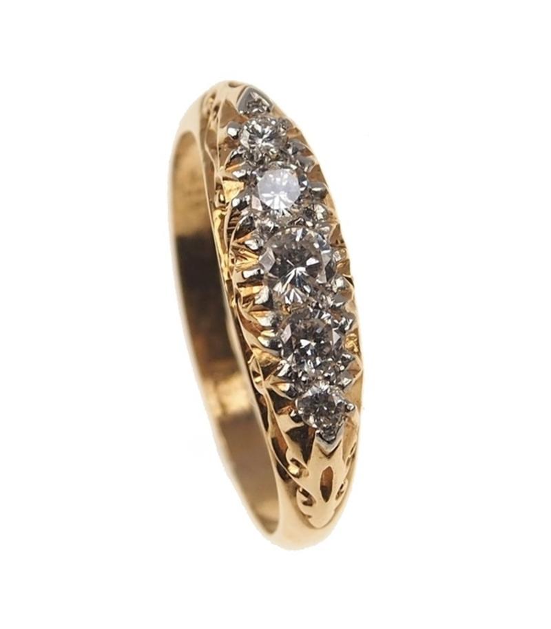 Antiker Verlobungsring 18 Ct Gold Ring Mit 5 Diamanten Victorian