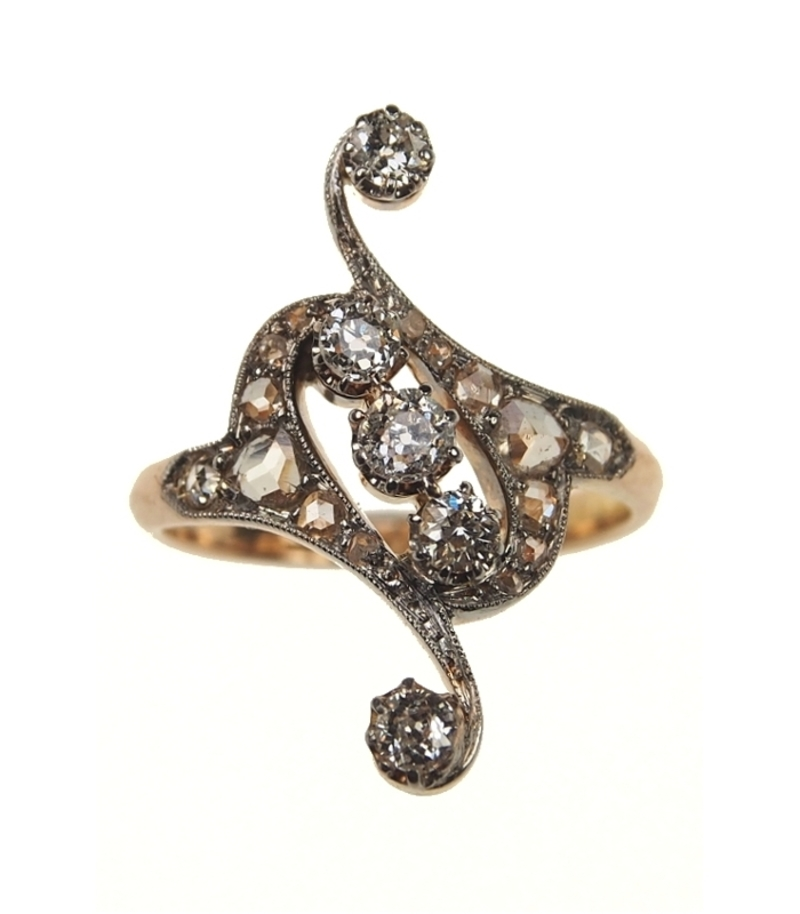 Antiker Verlobungsring 18 Ct Gold Ring Mit Diamanten Jugendstil
