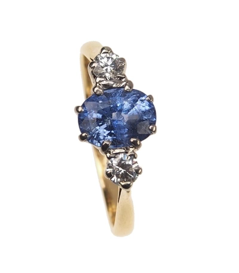 Antiker Verlobungsring 18 Ct Gold Platin Vintage Ring Mit Ceylon