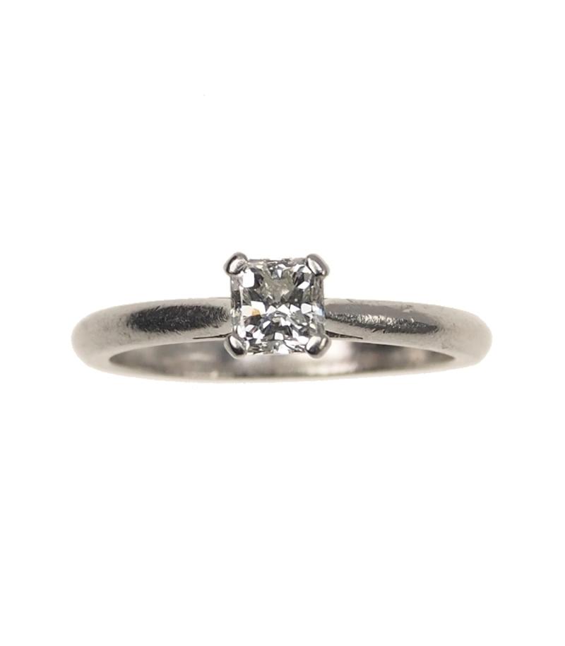 Antiker Verlobungsring Platin Vintage Ring Mit Diamant Solitaire Im